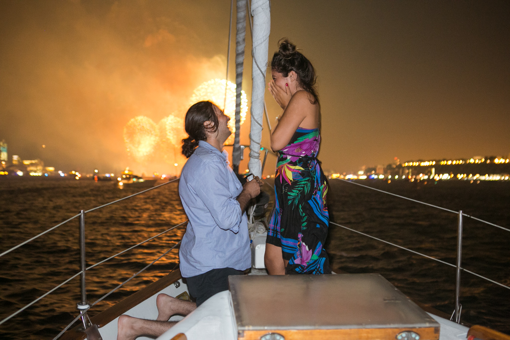 Photo Wedding Proposal on a sail boat during the Fireworks 4th of July. Year 2013   VladLeto