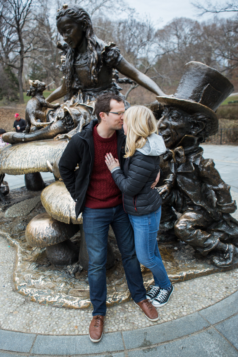 Photo 13 Surprise wedding proposal by Alice in Wonderland statue in Central Park. | VladLeto