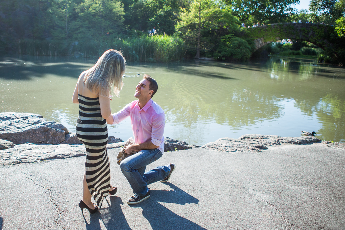 Photo marriage proposal by Gapstow Bridge in Central Park | VladLeto