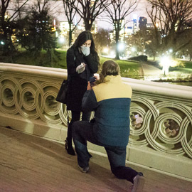 Photo Bow bridge marriage proposal at night. | VladLeto