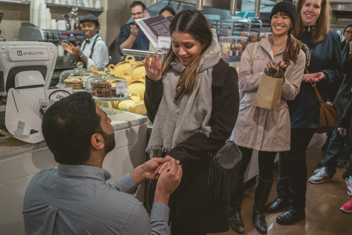 Surprise Marriage proposal at the Dominique Ansel Bakery. Soho NYC