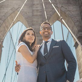 Brooklyn Bridge + City Hall wedding