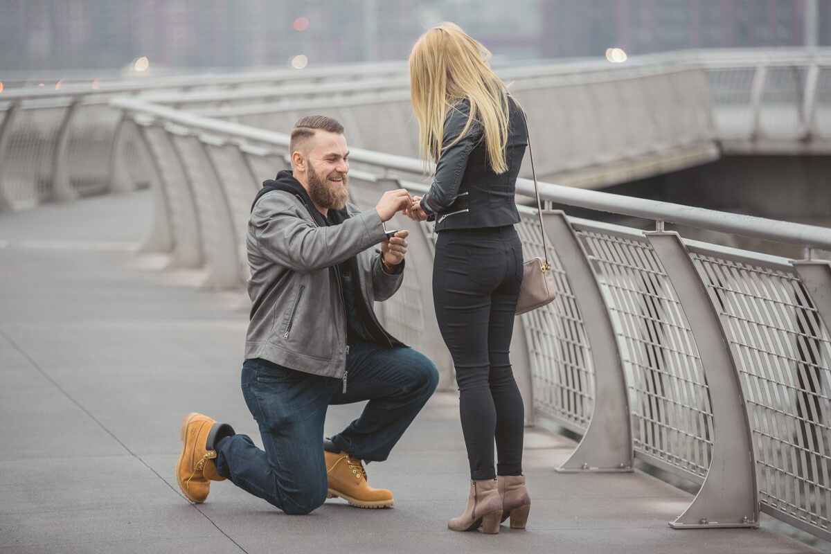Photo 4 Brittany and Artur Greenpoint Pier, Brooklyn Marriage Proposal. February 2016 | VladLeto
