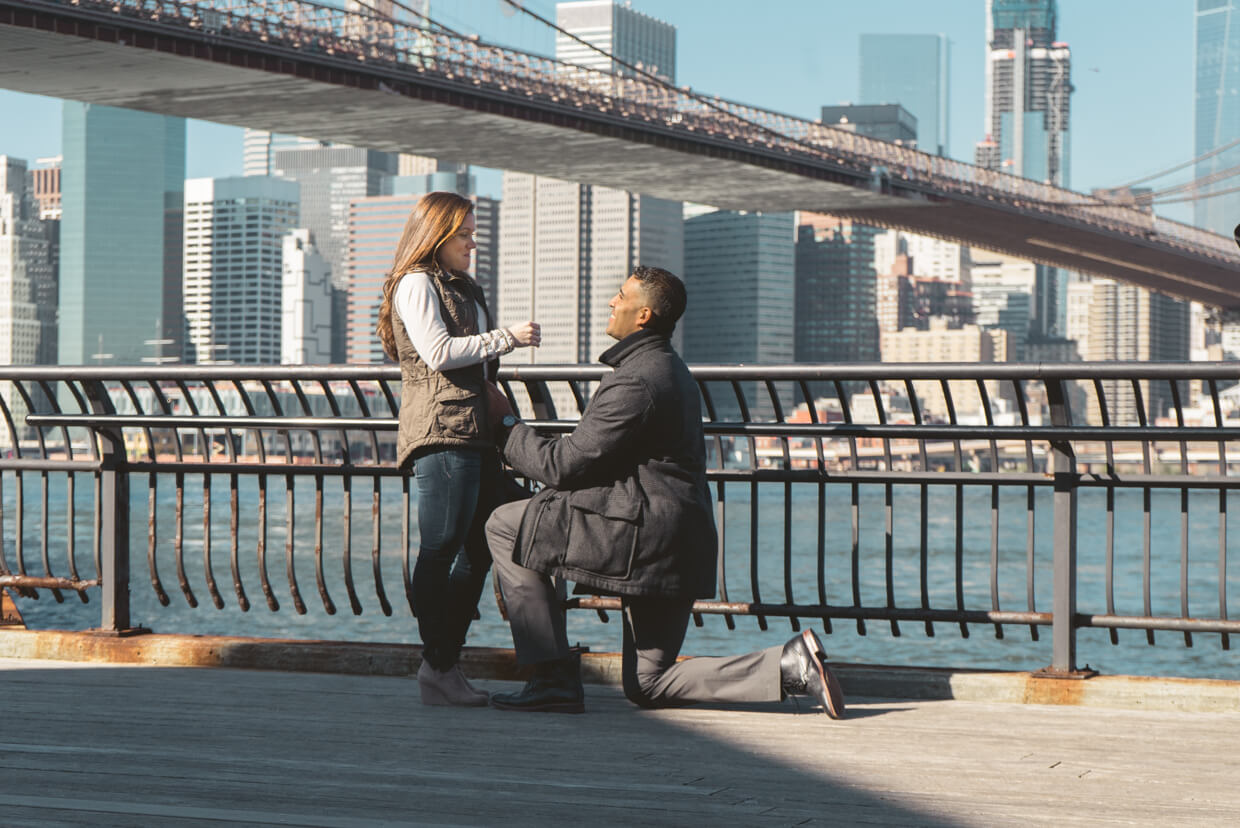 Surprise proposal Brooklyn Bridge