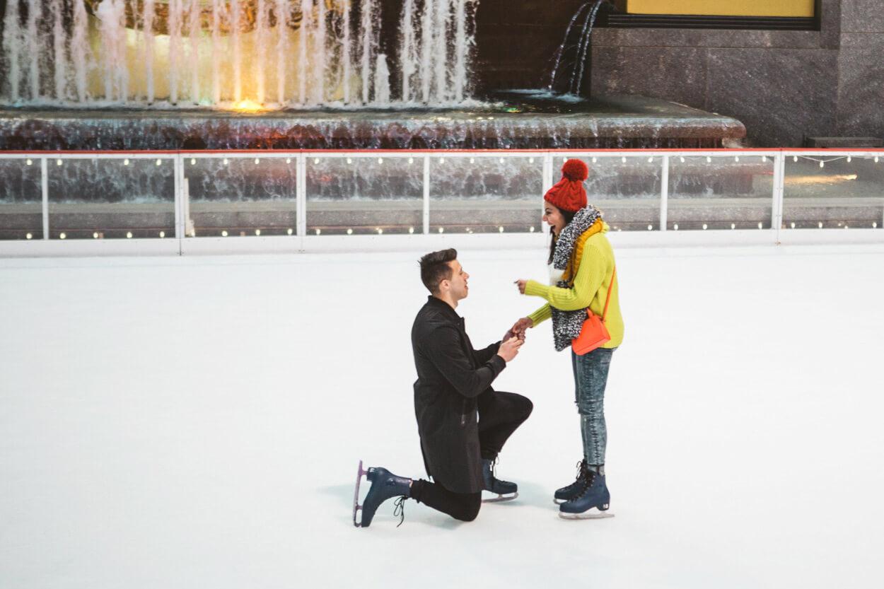 Photo 4 Ice Skating Marriage Proposal. The Rink at Rockefeller Center. | VladLeto