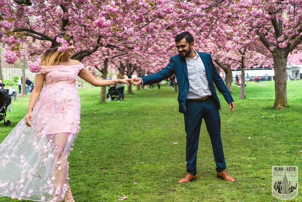 Photo 10 Cherry Blossom Marriage Proposal in Brooklyn Botanical Garden   VladLeto