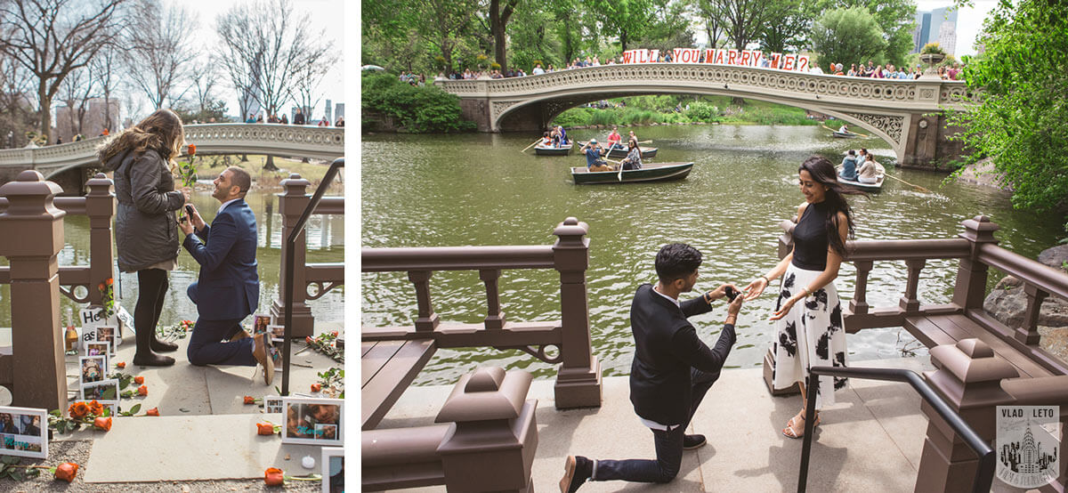 Marriage proposal with Bow Bridge on background in Central Park