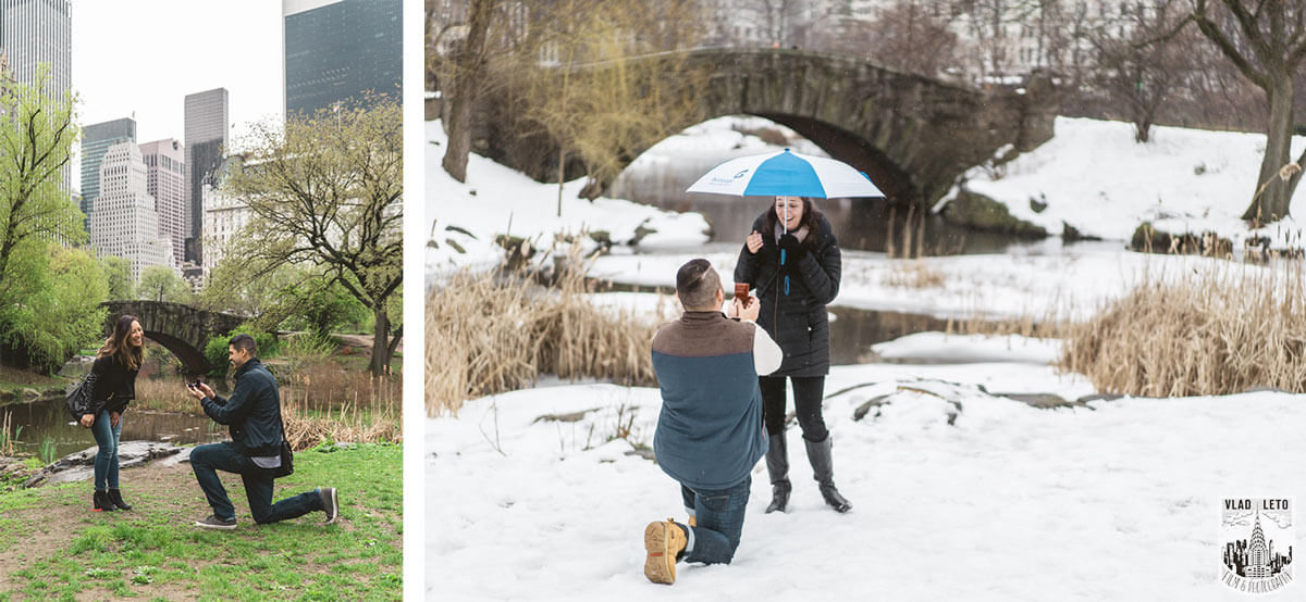 Surprise Proposal at Gapstow Bridge in Central Park.
