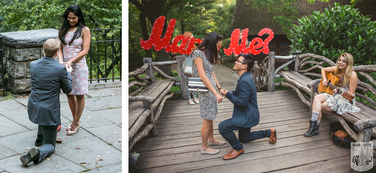 Marriage Proposal at Shakespeare garden in Central Park NYC