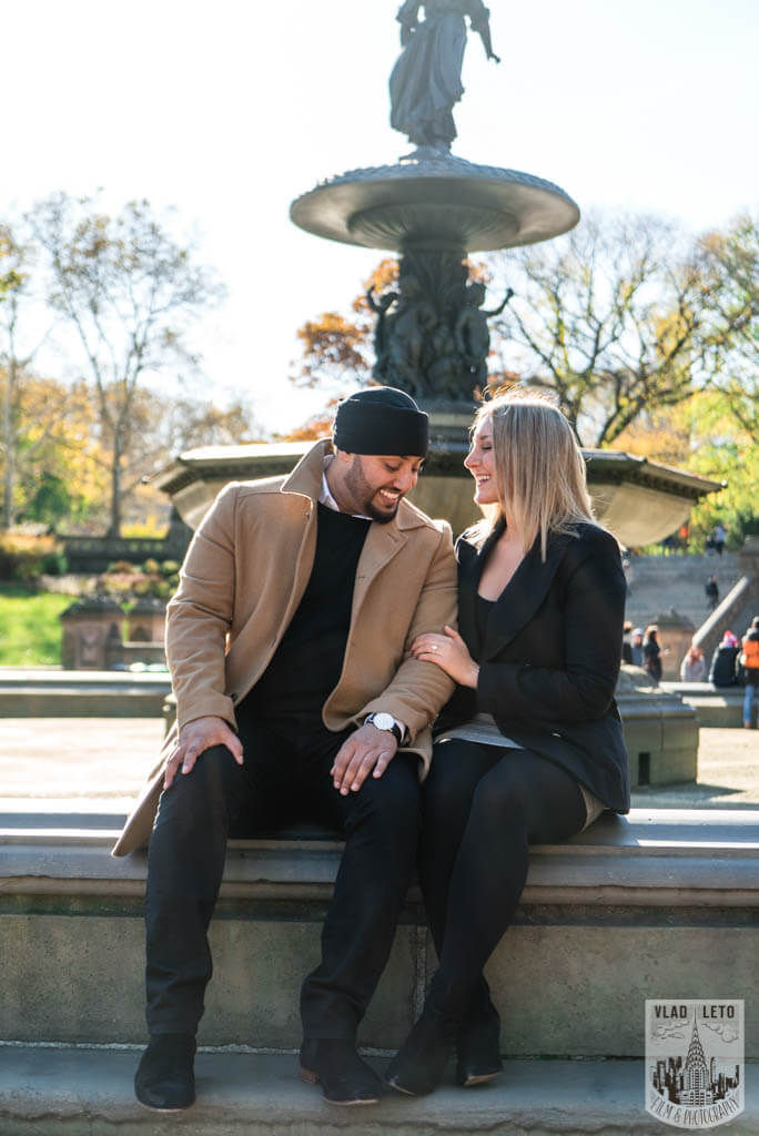 Engagement photo from Bethesda terrace in Central Park