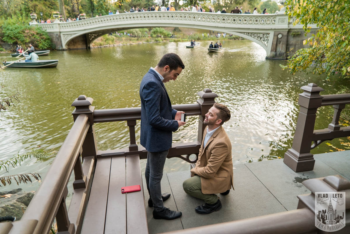 Same Sex Mariage proposal by Bow Bridge in Central park