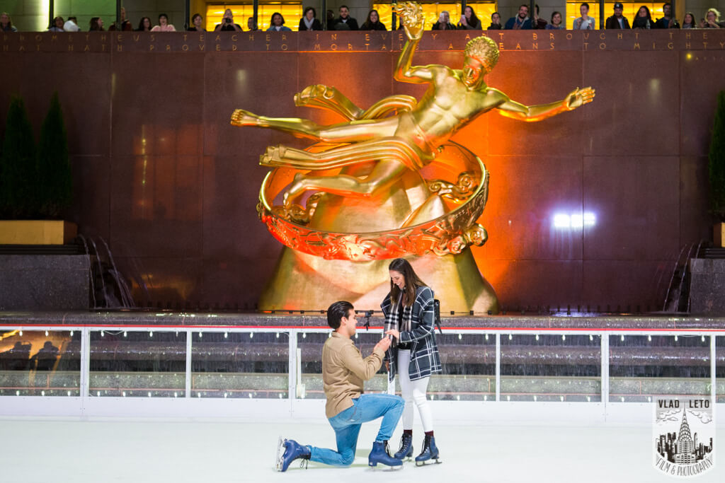 photo of Marriage proposal Ice Rink at Rockefeller Center