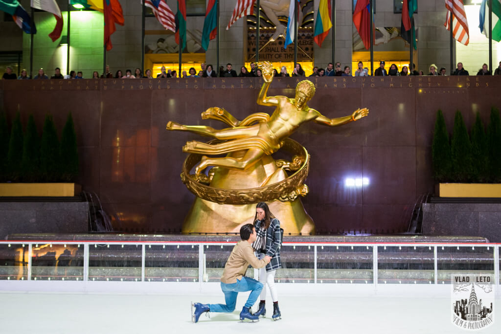 Photo Engagement on Ice. Rockefeller Center Ice Skating Rink. | VladLeto