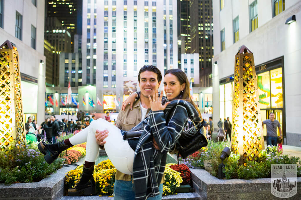 Rockefeller Center engagement photo