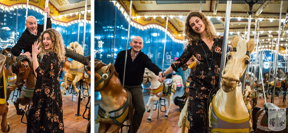 Holiday Marriage proposal idea. Proposal on Jane's carousel.