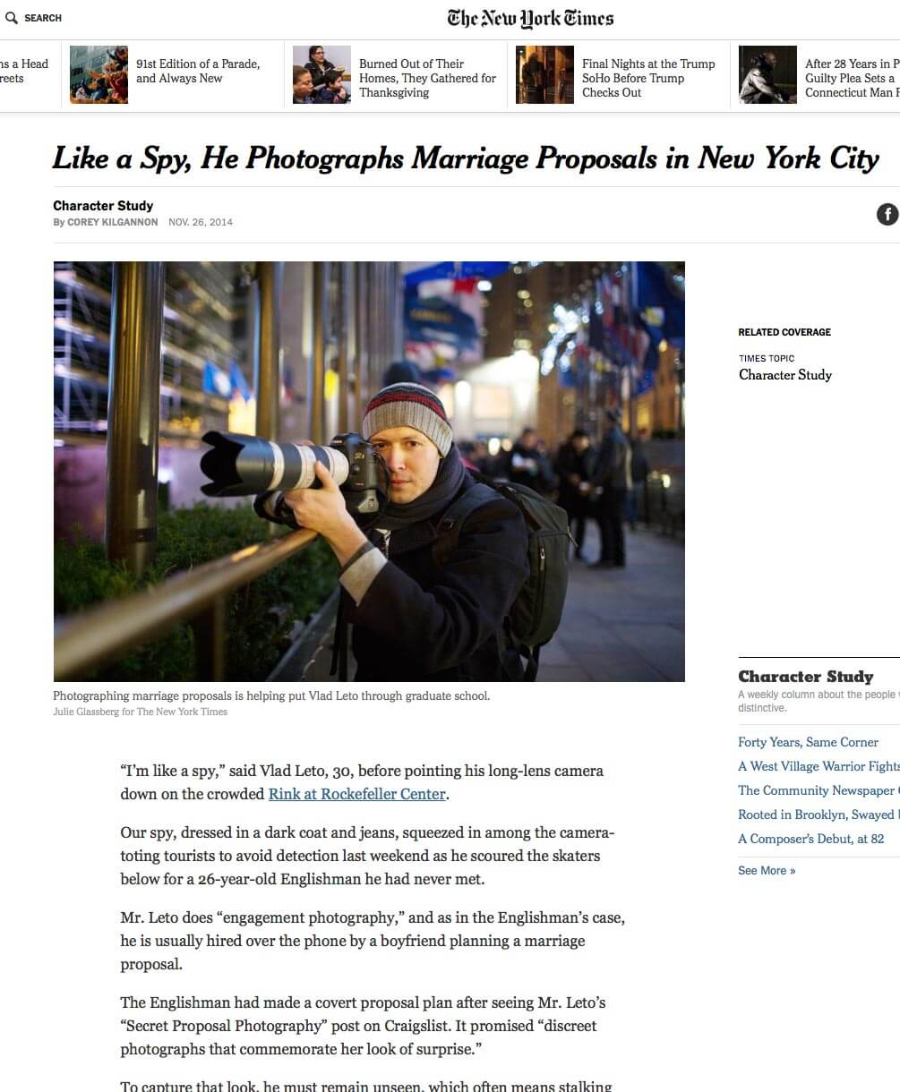Photo from NY Times with secret proposal photographer Vlad Leto