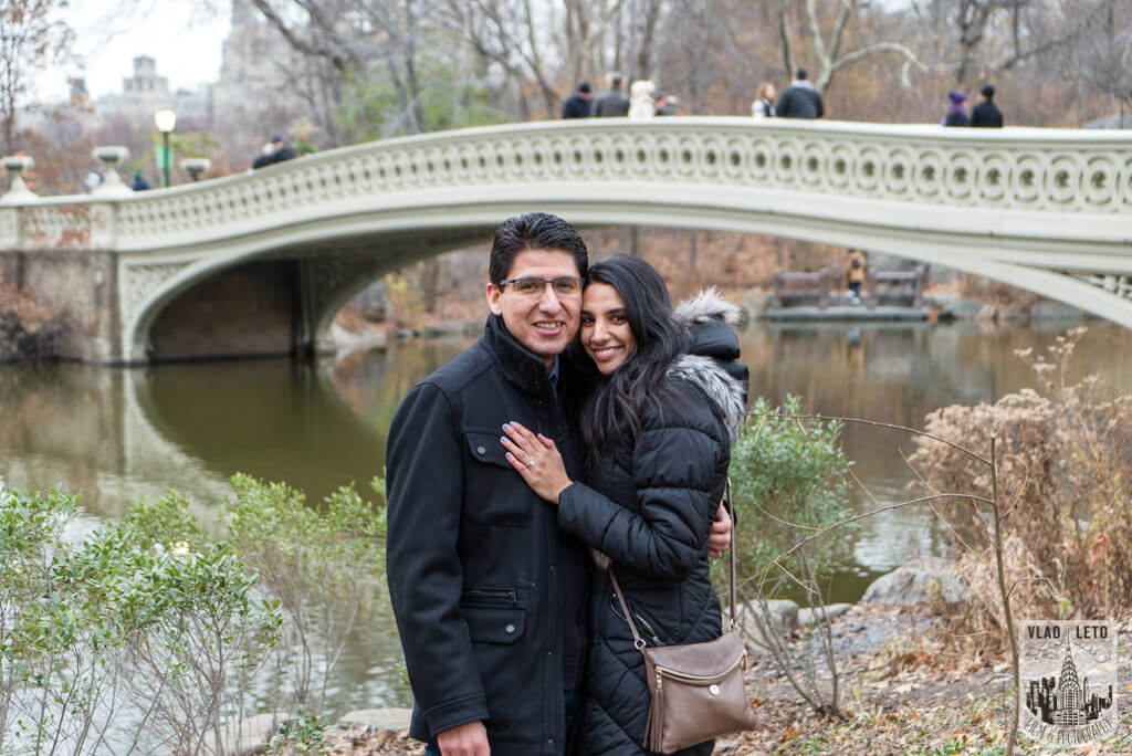 Bow Bridge Central Park engagement photo