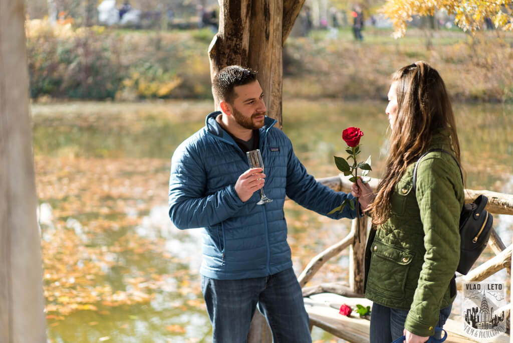 Wedding proposal in central park