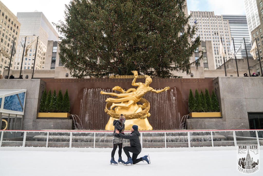 Engagement on Ice at The Rink at Rockefeller Center