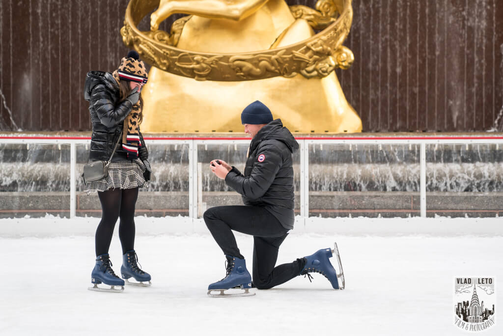 Surprise Proposal on Ice The Rink at Rockefeller Center