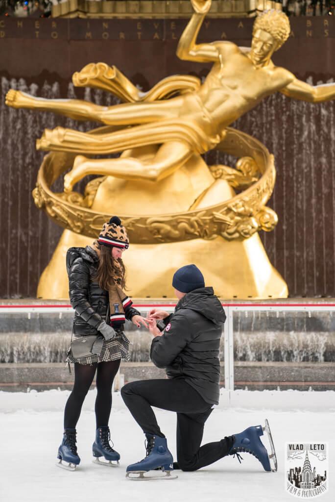 Photo 4 Ice Skating Marriage Proposal at The Rink at Rockefeller Center | VladLeto
