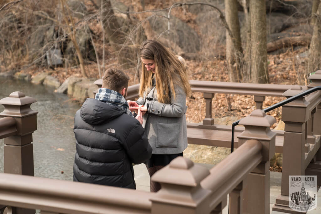 photo from proposal on bow bridge in central park