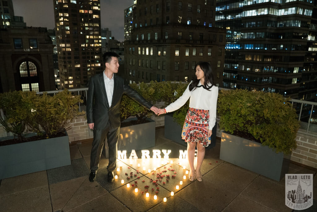 Proposing on private rooftop in New York City