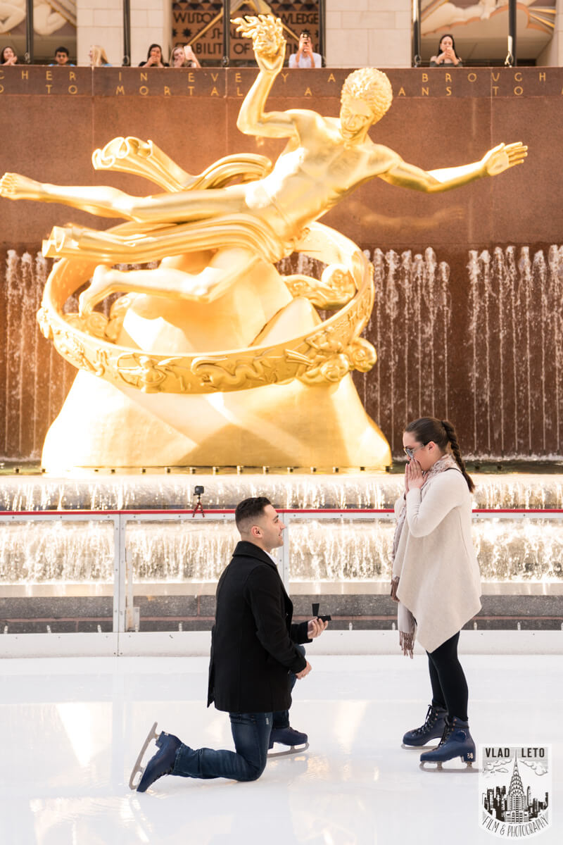 Wedding Proposal at the Rink at Rockefeller Center