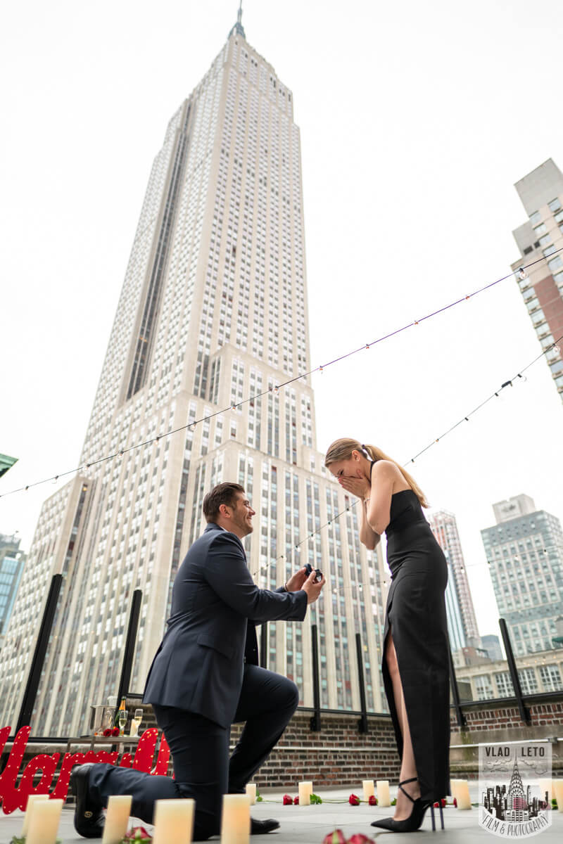 he proposed on Rooftop in NYC