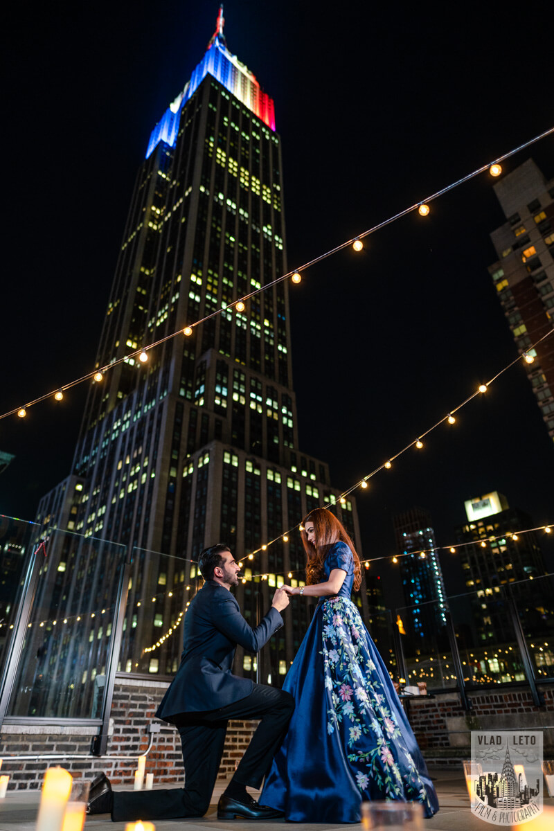 New York wedding proposal on private rooftop