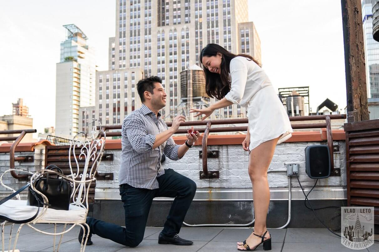 empire state building view rooftop proposal