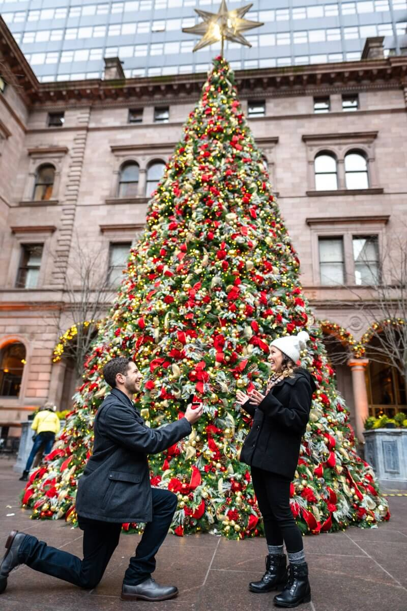 Marriage Proposal at The Lotte Palace Hotel Christmas Tree
