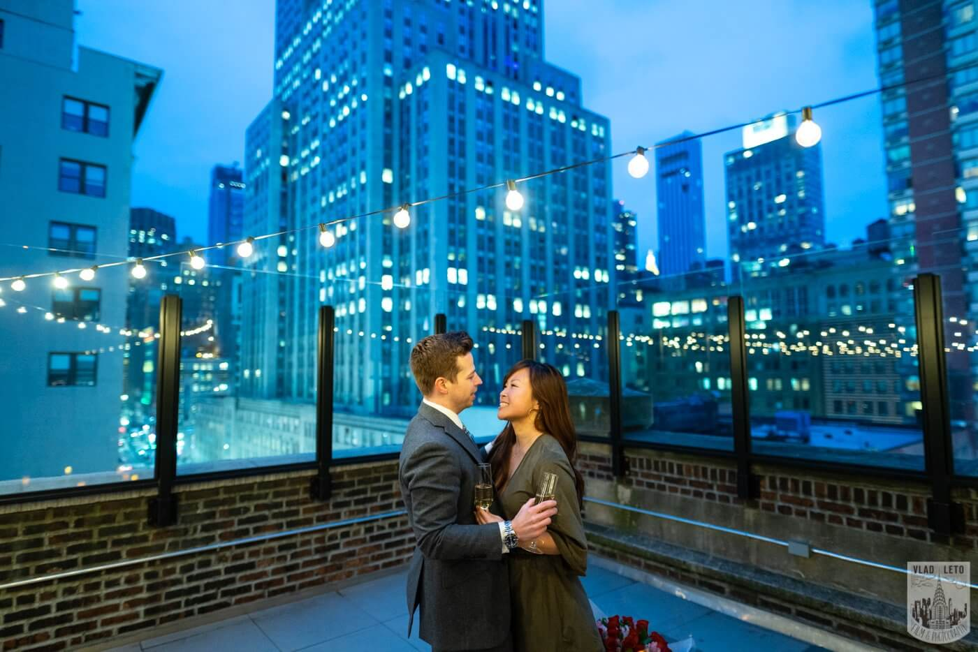 Photo 9 Wedding proposal on a private rooftop with Empire State building view. | VladLeto