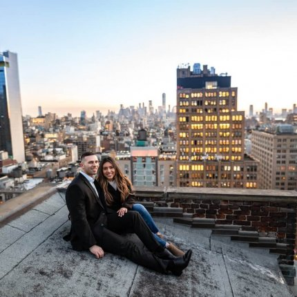 Sunset Proposal on private rooftop New York