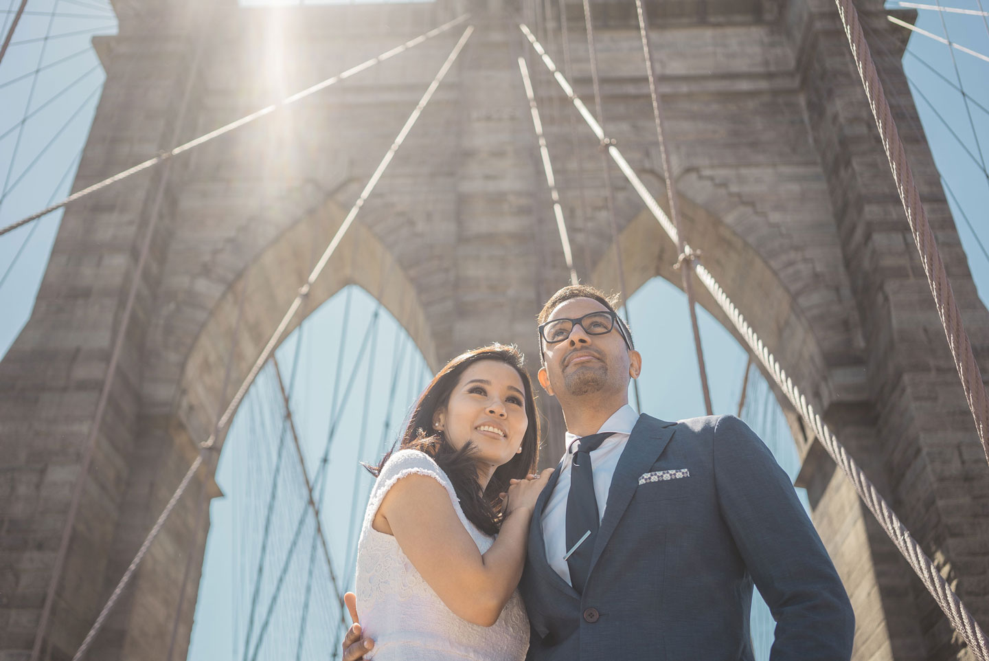 Just Married Couple after elopement on Brooklyn Bridge.
