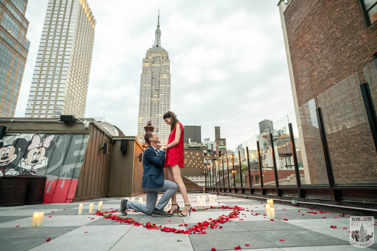 Marriage Proposal on a private rooftop with Empire State building on the background