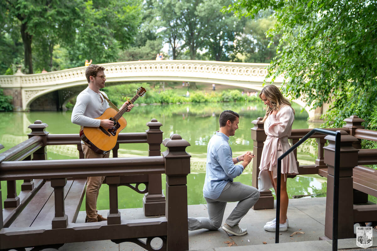 Proposal in Central Park under Bow bridge